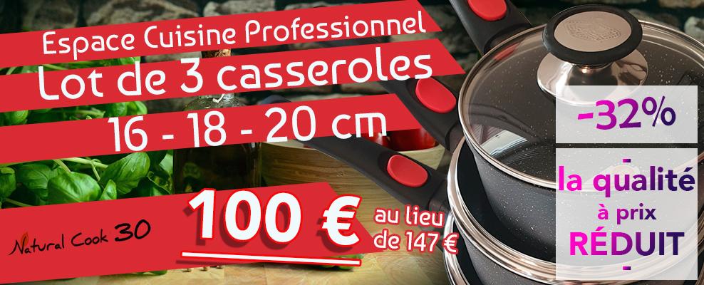Promotion lot 3 casseroles