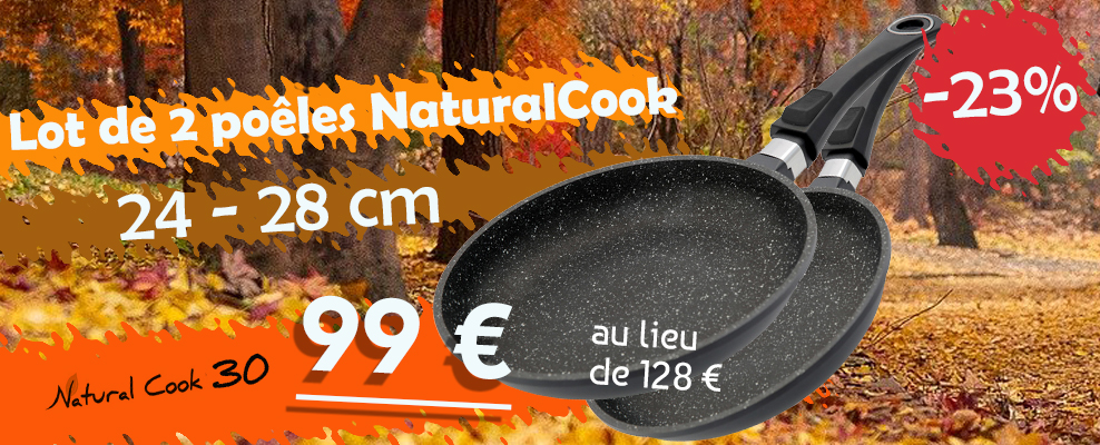 Lot 2 poêles Natural Cook promo