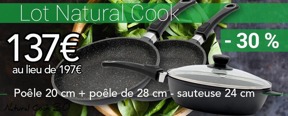 Lot poêles pierre Natural Cook promo