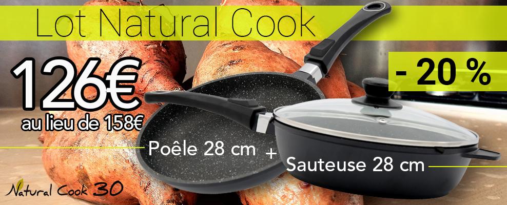 Promo poêle 28  et sauteuse 28 natural cook